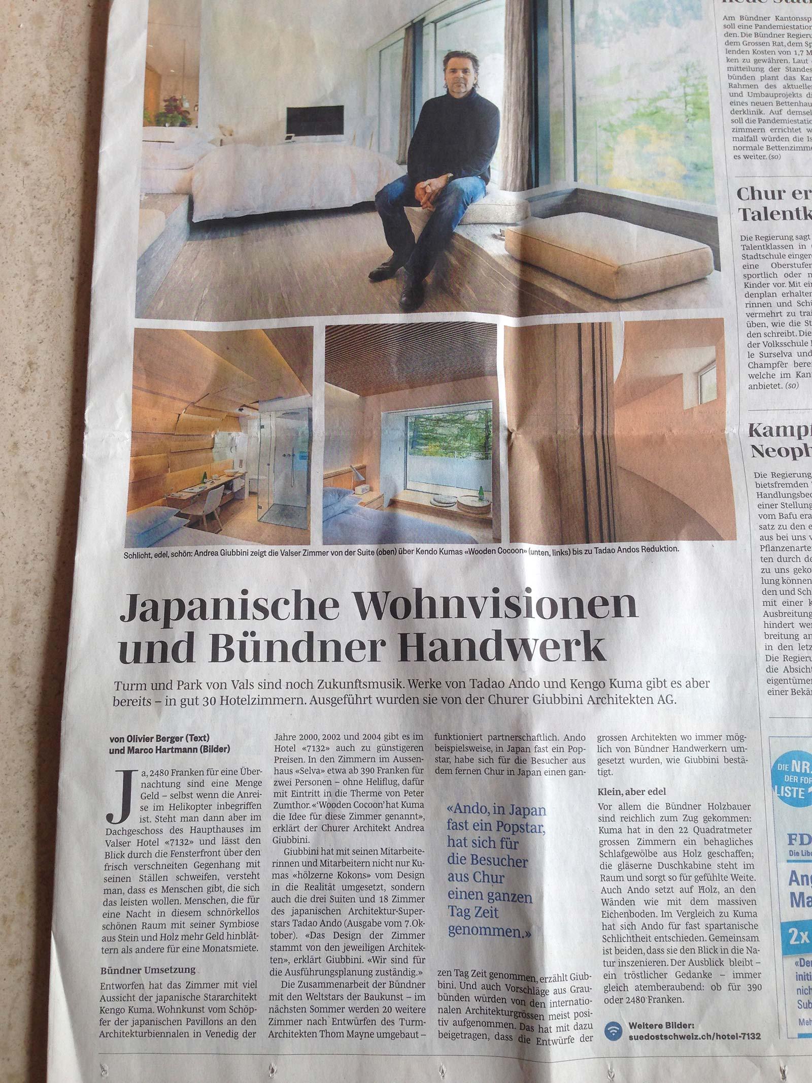 Therme Vals Zeitungsartikel