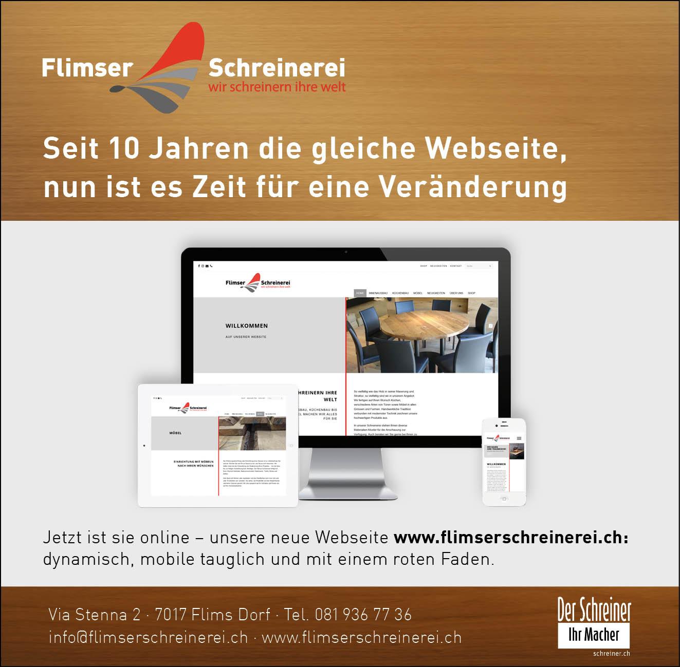 Unsere neue Webseite flimserschreinerei.ch
